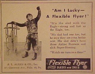 1948 Flexible Flyer Winter Snow Sled~Skis Flexy Racer Eagle Im I Lucky