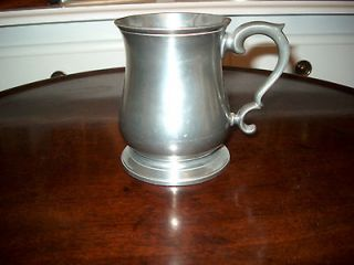 VINTAGE ENGLISH CROWN & ROSE CAST PEWTER DRINKING MUG