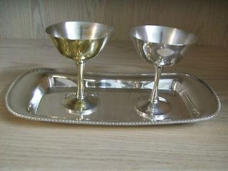 Silver Plate Tray Poole Silver Co Goblets Qty 2 Jolen Silver Plate Co