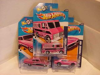 Hot Wheels 2012  PINK Firebird, Ford Thunderbolt, Combat Medic