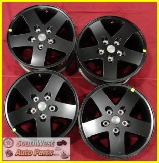 07 08 09 10 11 Jeep Wrangler 17 Black Take Off Wheels Factory Rims