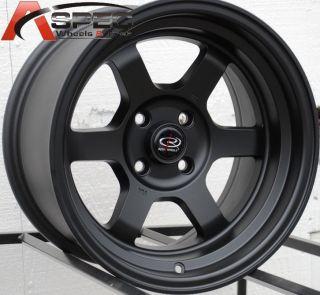 15x8 Rota Grid V Wheels 4x100 Rim 0mm 67 1 Hub Flat Black