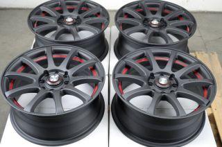 15 4x114 3 4x100 Matte Black Red Rims Cobalt Protege Aerio Cabrio Golf