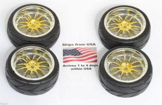 4X Wheels Tires 1 16 1 10 Gold Tire Wheel Rims Rim L12 Ships from USA