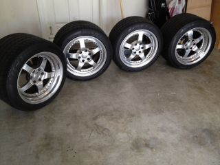Set of 17 inch HRE 545R Wheels Rims with Michelin Sport Tires Used on