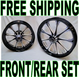 BLACK 21 X 3 5 18 X 5 5 FRONT REAR WHEELS SET HARLEY ROAD STREET