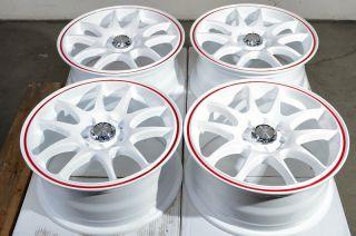15 4x100 4x114 3 White Effect Wheels Sephia MR2 Cobalt Accord Tiburon