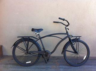 26 Custom Beach Cruiser Bike Mans Black Racks Fenders Alloy Wheels