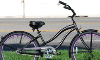 Cruiser Bicycle Bike Micargi STEALTH 26 Womens MATTE BLACK Purple Rims