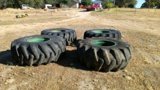23 1x26 Skidder Tires on Clark 667 Rims Timberjack Cat John Deere