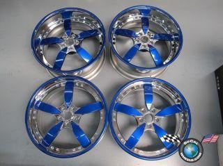 20 Staggered Chrome Blue Custom Rims Wheels Lexus Ford Acura