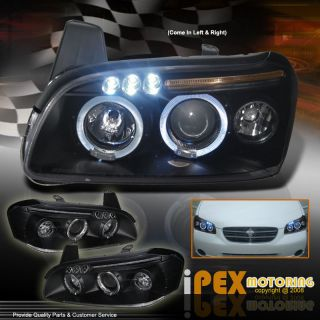 Twin Halo Rims Projector Black LED Headlights for 2000 2001 Nissan
