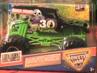 HOT WHEELS GRAVE DIGGER MONSTER JAM DIE CAST METAL BODY 30 YEAR