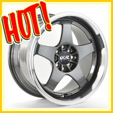 17 17x7 17x9 4x100 4x114 3 GUN METAL WHEELS RIMS STAGGERED 240SX S13