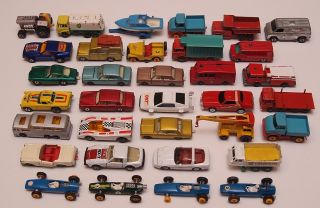 Vintage lot of 34 Lesney Matchbox Regular Wheels & Superfast England