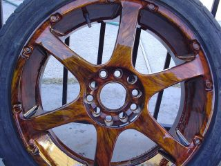 WOOD GRAIN RIMS ENKEI T2 RS6 17x7 JJ 38 5x114 3 5x100 HOT ROD RAT ROD