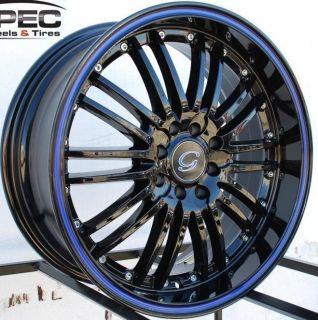 G820 Wheel 5x120 114 3 38 Black Blue Rim Fits Celica Civic RSX