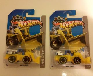 New Hot Wheels 2013 Wheel Loader Bull Dozer Skid Loader RARE X2