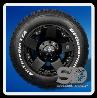 ROCKSTAR BLACK WITH LT 275 70 18 BFG ALL TERRAIN T A TIRES WHEELS RIMS