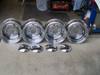 Chrome Reverse Wheels Rims Smoothie 15x8 6 Lug GM Rat Hot Rod With
