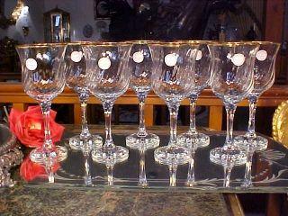 Get More Crystal 8oz Swirl Wine Stem Glasses Gold Rims Turkey