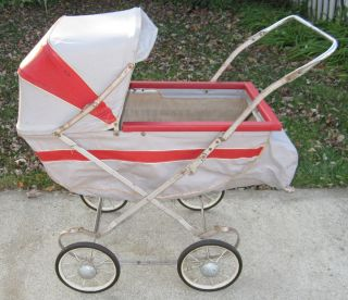 Antique Baby Doll Buggy Carriage South Bend Wheels Canopy Red & Gray