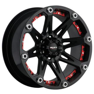 20 Wheels Rims Ballistic Off Road Jester Black w Red Insert Silverado