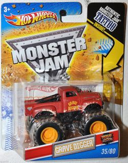 2011 Hot Wheels Monster Jam Tattoo series Grave Digger Red Pickup