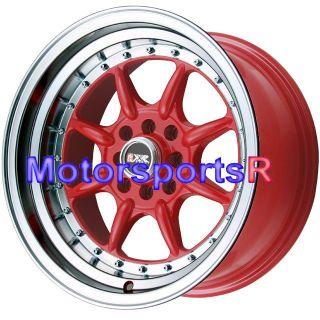 16 16x8 XXR 002 RED Rims Wheels Deep Dish Lip Stance 4x114 3 4x4 5