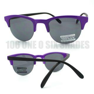 Bright Neon Purple Color Half Rim Retro Sunglasses Unisex New Design