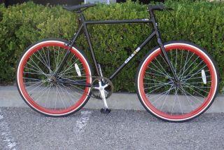 Bike Fixie Bike Road Bicycle 58cm Black w Deep 43mm Red Rims