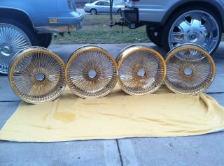 AUTHENTIC ALL GOLD B LACE FWD DAYTON WIRE WHEELS RIMS NO LONGER MADE