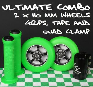Green 110mm Spoke Metal Core Scooter Wheels Grips Tape Quad Clamp