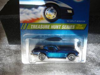 1995 TREASURE HUNT HOT WHEELS ( # 6 63 SPLIT WINDOW CORVETTE ) MINTY