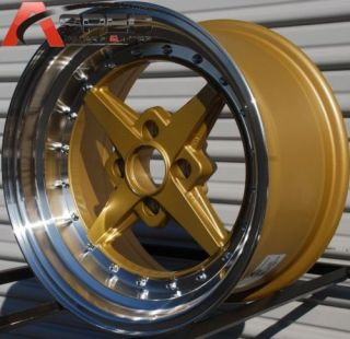 Rota Zero Plus 15x8 4x100 20 Gold Polish Rim Wheels