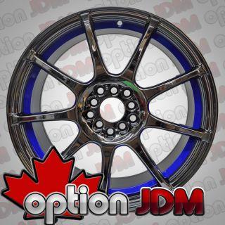 GP Racing Wheels GR8 Black Chrome Blue Underlip 18x8 5x100 114 3