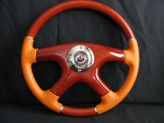 New 15 Orange Leather Wood Grain Steering Wheel