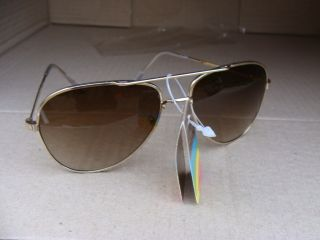 Vintage Polaroid  Gold Rims Sunglasses Mens Retro Aviator Brown Style