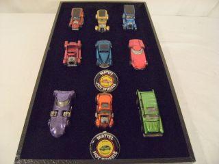 Lot of 9 1967 69 Redline Hot Wheels and 2 Badges Excellent