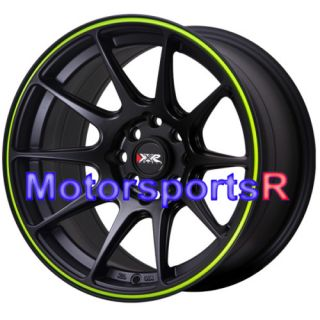 Neon Yellow Stripe Concave Rims Wheels 89 94 Nissan 240sx S13