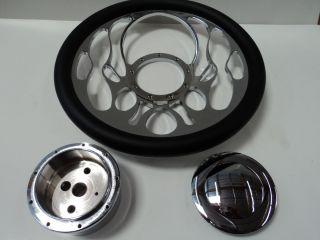 Flame Steering Wheel Kit Black Half Wrap for 67 94 GM Column