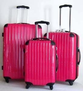 Luggage Set Hard Rolling 4 Wheels Spinner Travel Upright ABS Pink