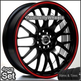 18inch Pkg Wheels Tires G92 Black Red Ring Rims Lexus