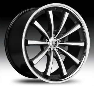 22 Lexani CVX 55 Wheel Set 22x9 Flat Black Chrome Lip Lexani CVX 55 5