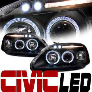 BLK LED HALO RIMS PROJECTOR HEAD LIGHTS SIGNAL AMBER 96 98 HONDA CIVIC
