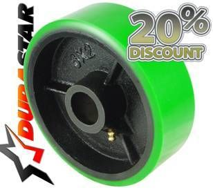 Green Polyurethane on Black Cast Iron Core Steel Wheel 5 x 2 700