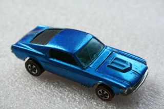 1968 Hot Wheels Redline Custom Mustang Louvered Blue