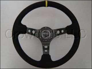 NRG Steering Wheel 06 Black Suede Yellow Stripe 350 Mm