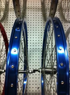 ELECTRIC BLUE HEAVY DUTY RIM SET 26 X 2 125 ALLOY 105G CRUISER