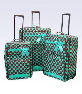 Brown Do Polka 3 Piece Rolling Luggage Se Wheels Suicase